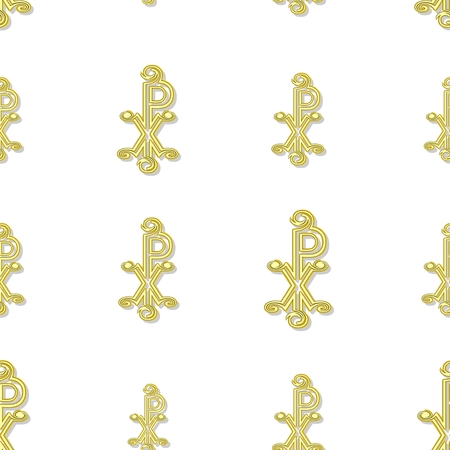 tileable background: Seamless yellow labarum pattern  on white background