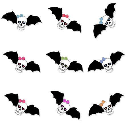 jawbone: Skulls with colored bow and bat wings. Seamless pattern on white background