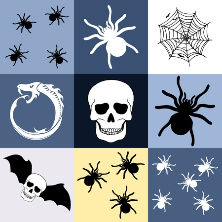 boyish: Halloween themed seamless pattern or background with skull, spider, bats and ouroboros