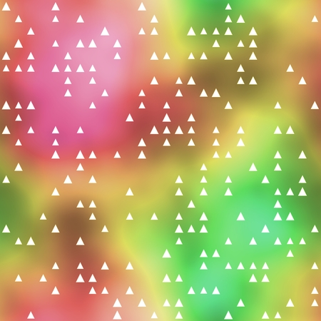 smudgy: Seamless pattern with white triangle motif on colorful background Stock Photo