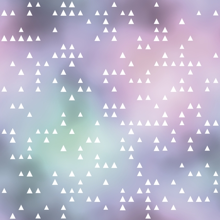 smudgy: Seamless pattern with white triangles motif. Pastel colored background