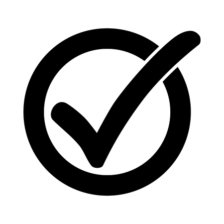 Black check mark or tick icon in a circle isolated on white background
