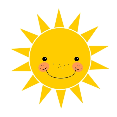 the sun: Cute smiling sun isolated on white background