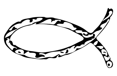 ichthys: Christian fish icon in black and white color