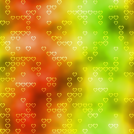 smudgy: Seamless pattern with hearts motif on red-green background