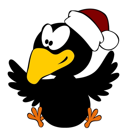 christmas cap: Happy crow wearing christmas cap isolated on white background