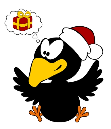 christmas cap: Happy crow wearing christmas cap with thinking bubble isolated on white background Illustration