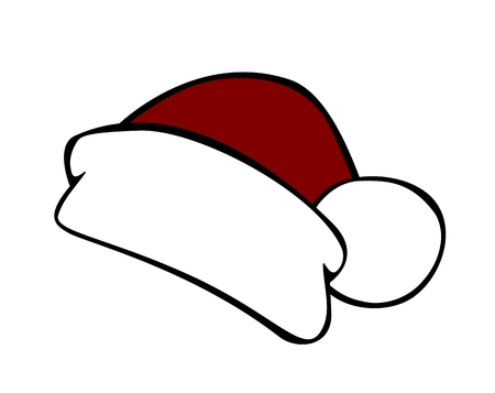白い背景で隔離赤いサンタ帽子  イラスト・ベクター素材