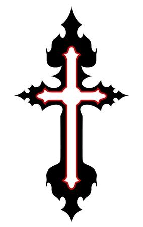 diseño del tatuaje de la cruz aislada en el fondo blanco Ilustración de vector