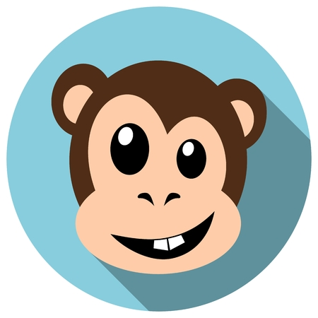 shapes cartoon: Monkey Face in Flat style with Long Shadow. The year of monkey 2016