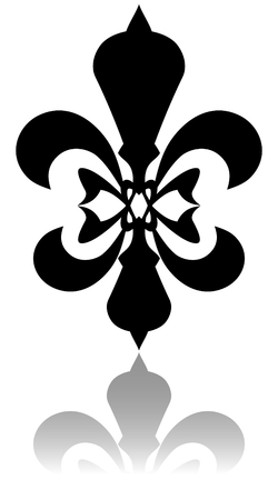 kingly: Glossy fleur de lis symbol with drop shadow on white background Stock Photo
