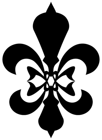 kingly: Fleur de lis symbol - black silhouette. Isolated on white background