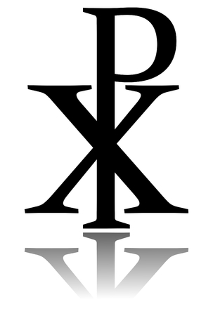 Glossy Chi Rho Symbol With Drop Shadow Christogram Labarum Stock