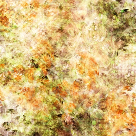 pale background: Mixed media texture. Digital painting in green, red and orange colors on pale background