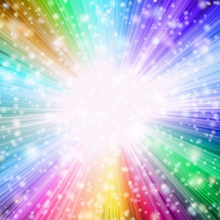 pastel color: Bright spotlight with radiating colorful rays of light in vibrant colors
