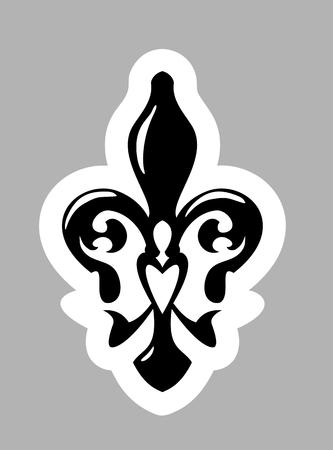 symbol fleur de lis: Fleur de lis symbol. Isolated on grey background
