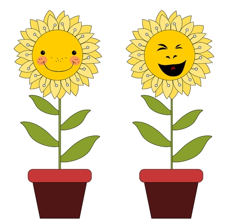 symbol yellow: Smiling cartoon flowers in flowerpots isolated on white background