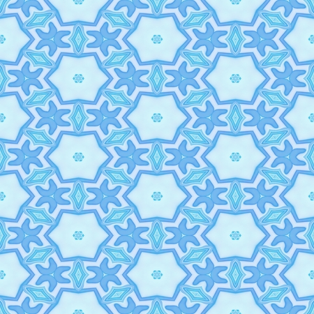 iteration: Seamless kaleidoscopic decorated pattern in blue color