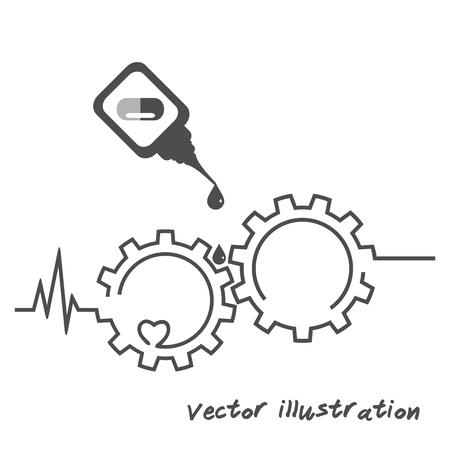 Medical and health care concept. Heart, medicament, cardiogram, gear isolated on white Ilustração