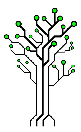 Circuit board shaped tree. Technology tree isolated on white