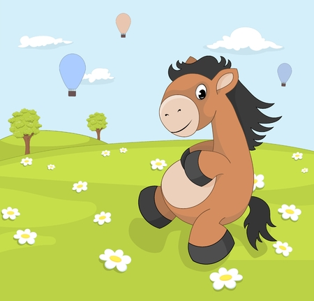 wit: Spring landscape with cartoon pony on blooming meadow wit hot air balloons