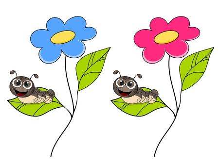 oruga: oruga de la historieta sonriente linda en la hoja verde fresca aislada en el fondo blanco Vectores