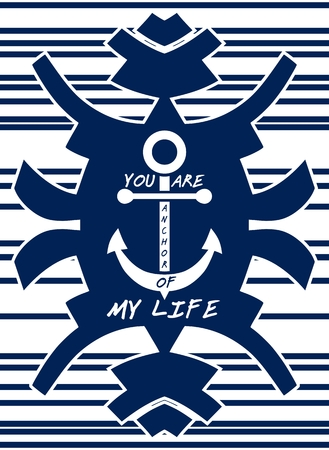 declaration of love: Navy blue hipster element. Anchor. Striped background. Love concept. Declaration of love. Isolated on white
