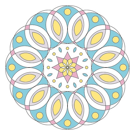 pastel colored: Pastel colored floral mandala isolated on white background. Zendala Illustration