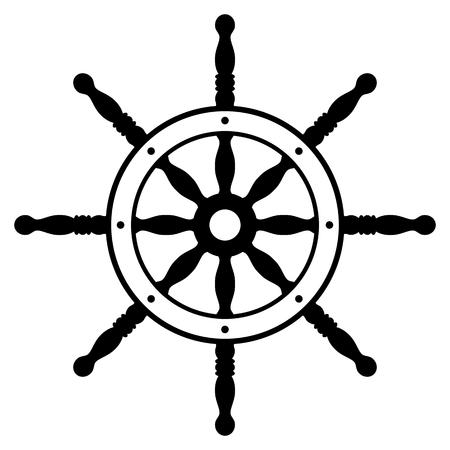 ship steering wheel: Rudder silhouette isolated on white background. Ship steering wheel. Helm wheel. Illustration