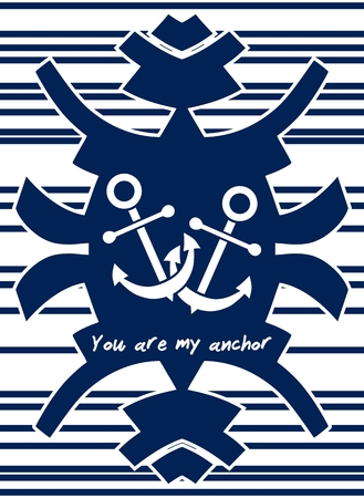 declaration: YOU ARE MY ANCHOR theme. Love concept. Declaration of love. Isolated on white