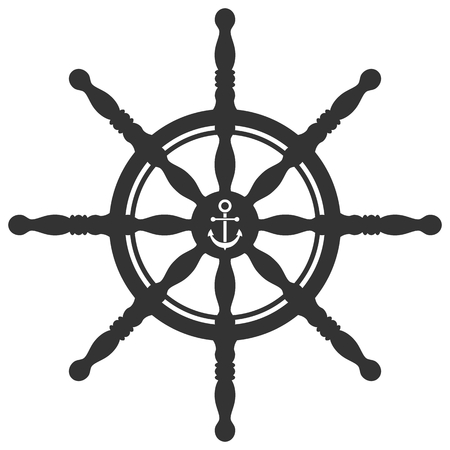 ship steering wheel: Rudder silhouette with anchor ornament isolated on white background. Ship steering wheel. Helm wheel. Illustration