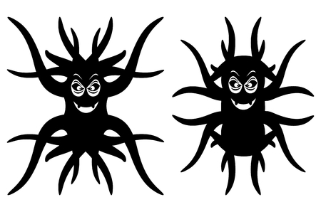 creatures: Cute strange creatures. Isolated on white background