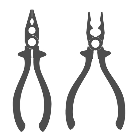 combination: Grey combination pliers silhouette isolated on white background