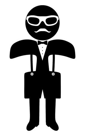 suspenders: Hipster man. Suit. Bow tie