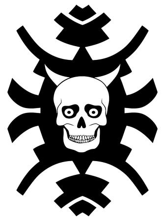 horned: Hipster ornament with horned skull on white background