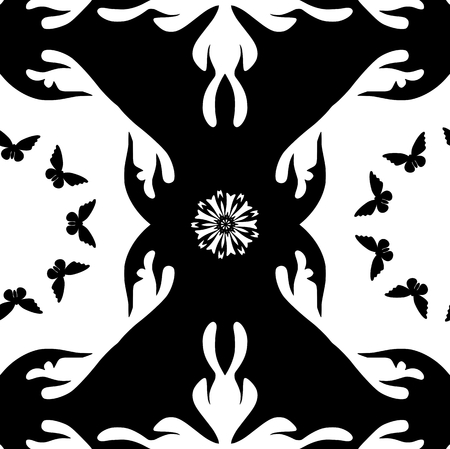 monochromatic: Monochromatic pattern with butterflies and flowers. Seamless background Illustration