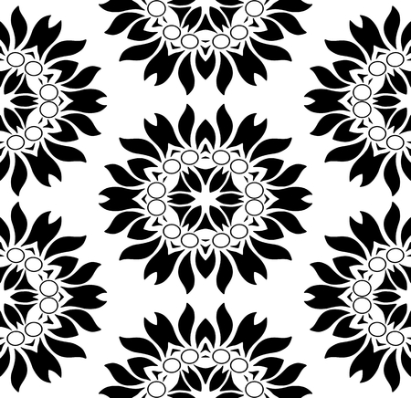 dichromatic: Monochromatic seamless floral pattern on white