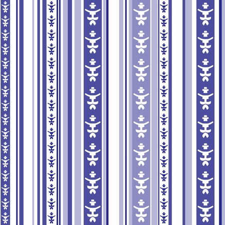 ultramarine blue: Seamless vertical striped pattern with abstract motif in blue and white colors