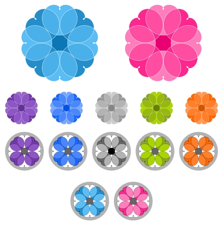 rosy: Set of colored ornaments. Spirographs. Mandalas isolated on white background
