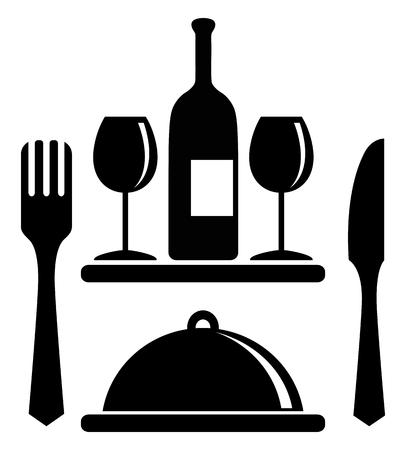 fork glasses: Wine bottle, glasses, serving tray, fork, knife