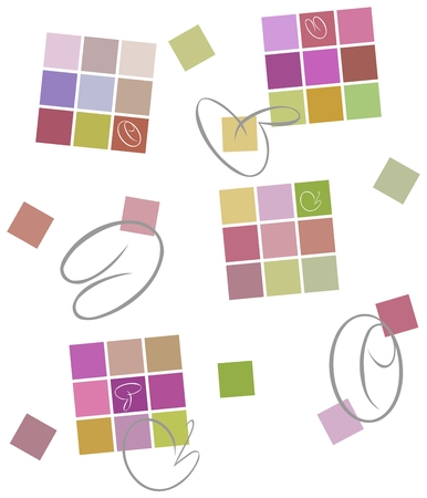 strokes: Colored background. Squares, calligraphic strokes Illustration