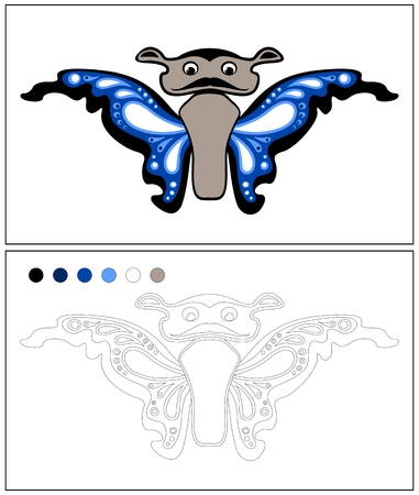 butterfly isolated: Butterfly. Coloring page. Isolated on white background Illustration