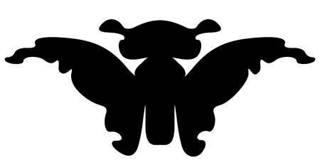 feelers: Cartoon butterfly silhouette. Isolated on white background Illustration