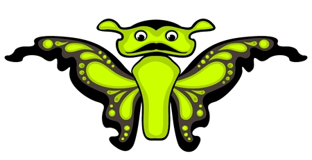 feelers: Cartoon butterfly. Isolated on white background