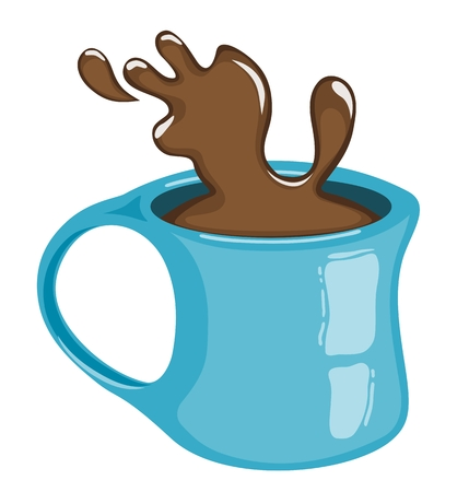 coffee spill: Cup of coffee with splash. Hot chocolate. Isolated Illustration