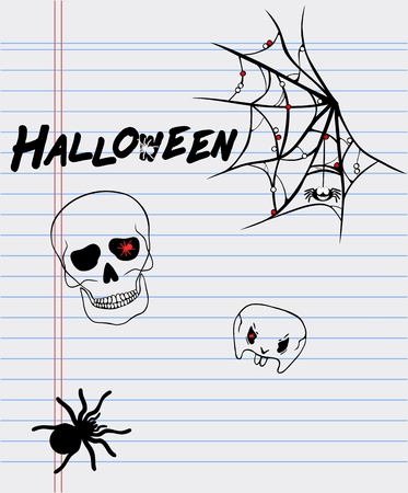 cranial: Halloween drawings on a sheet of paper-spider, skull and cobweb
