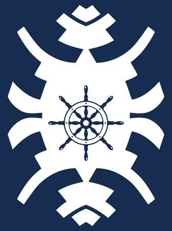 rudder ship: Navy blue and white hipster ornament with rudder. Ship steering wheel. Helm wheel.