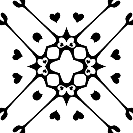 monochromatic: Seamless pattern with hearts. Monochromatic background. Isolated on white