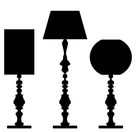 Set of lamp silhouettes isolated on white background