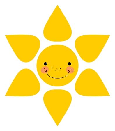 kiddish: Smiling sun. Isolated on white background
